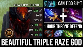 WTF 1Hour Throne Defend with Beautiful Triple Raze + Insane Right Click 8Items Vs Godlike PA DotA 2