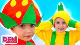 Vlad und Nikita geben vor, im Supermarkt zu spielen