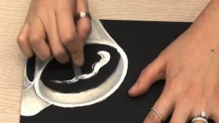 그림이 있는 칠판, 초크아트 - 커피잔과 커피체리 그리기
