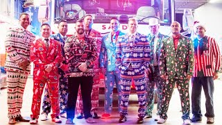 Firefighters Dress In Ugly Christmas Suits For Guys' Night Out