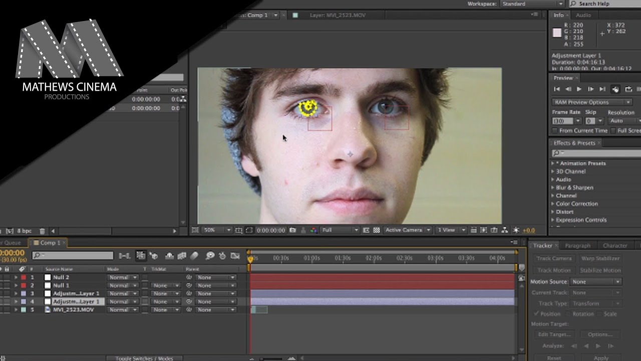 Changing Eye Color In After Effects Cs6 Motion Tracking To The Face  [tutorial]