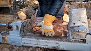 Primitive Technology vs Mega Machines Cleaver Saw Log Splitter Chainsaw and Sawmill Unusual Woodwork