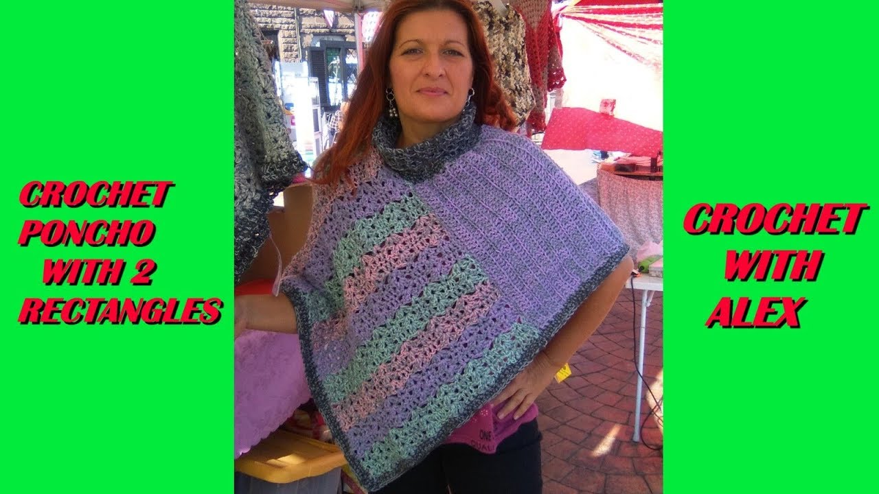 EASY CROCHET PONCHO WITH 2 RECTANGLES TUTORIAL ANY YARN AND HOOK ...