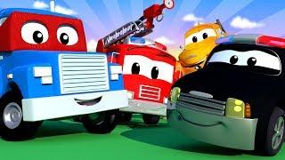 auto city con tom la grua  carl super camion y la super patrulla   dibujos animados   live