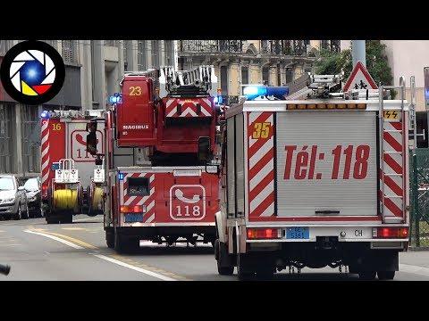 Sapeurs-Pompiers de Genève Départ en Intervention