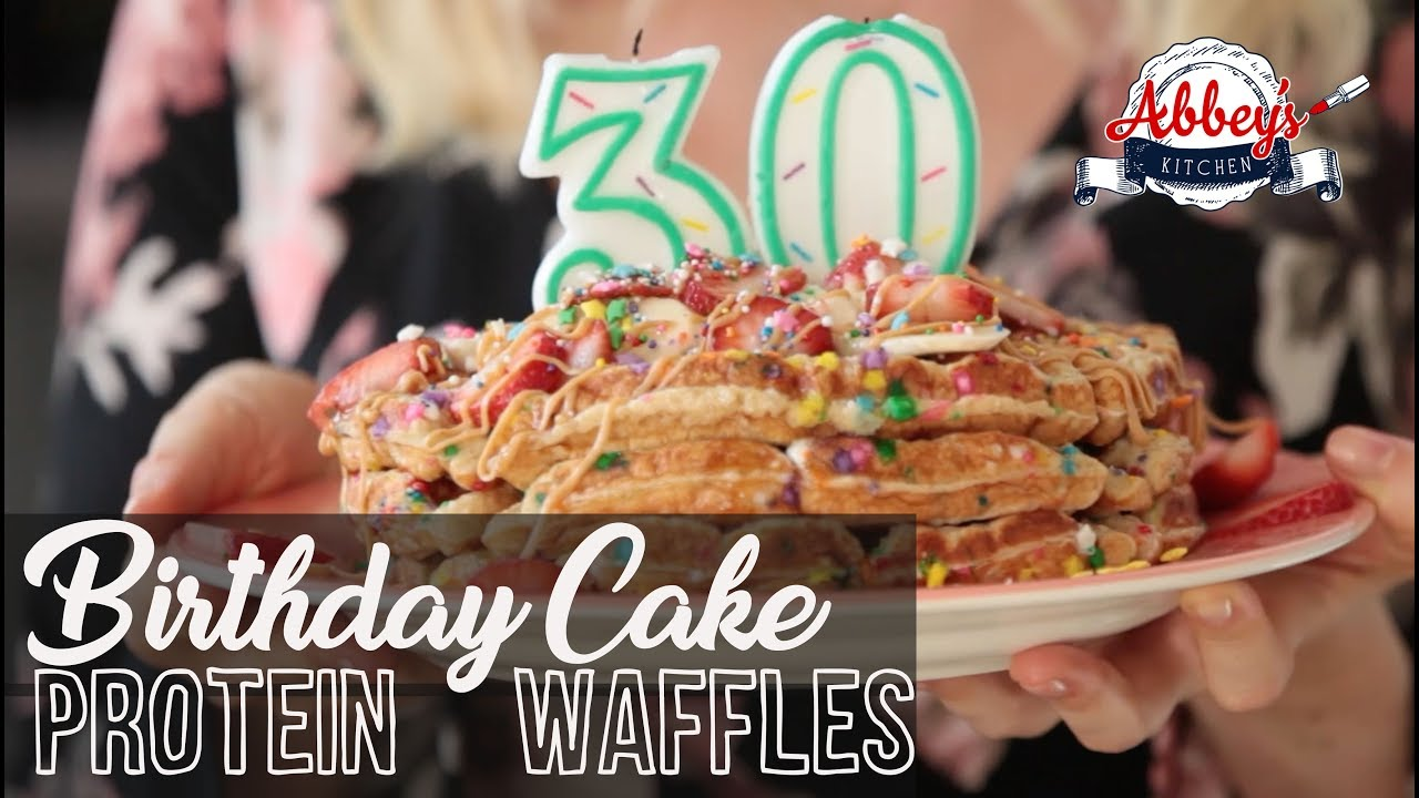 Healthy Birthday Cake Protein Waffles Gluten Free Breakfast Recipe