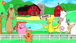 Farm Animals Song - Animals Sounds Song - Walk Around the Farm - ELF Learning