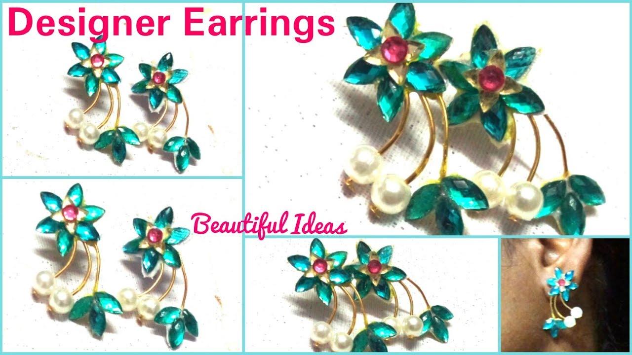 How To Make Designer Earrings/Paper Designer Earrings Making At Home  ..Tutorial/Easy U0026 Simle DIY.