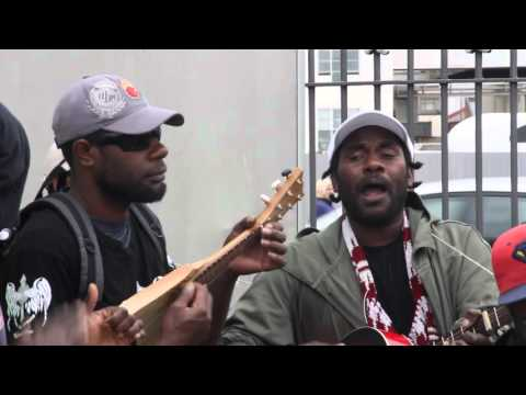 Vanuatu band play music in Dunedin market New Zealand