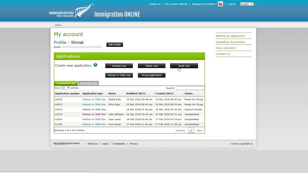 New online application form for partners and children