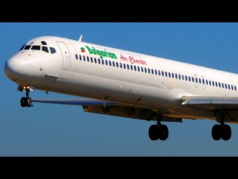 Bulgarian MD-82 Landings & Loud Smoky Takeoffs @ Corfu - Jet
