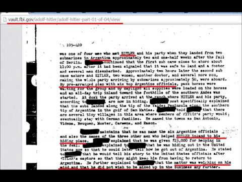 Adolph Hitler faked his suicide and lived out his days in Argenina, according to the FBI