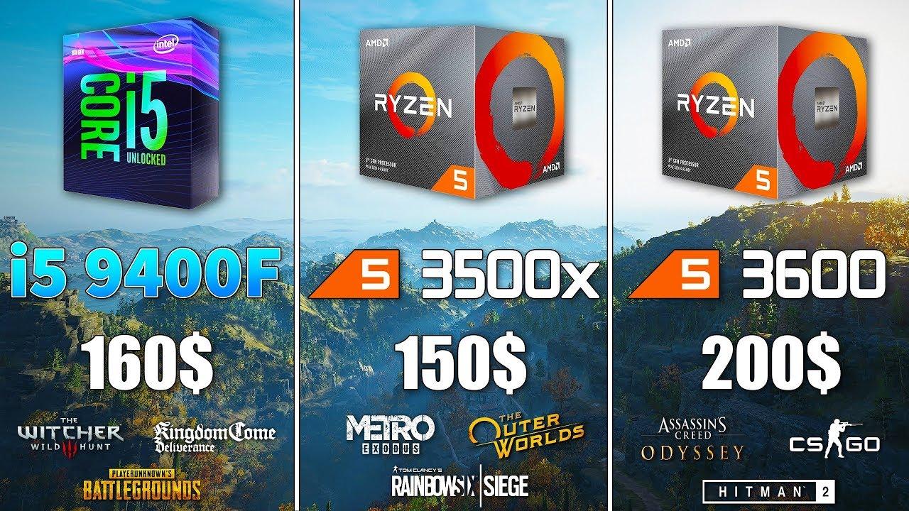 Ryzen 5 3500x vs i5 9400F vs Ryzen 5 3600 Test in 9 Games