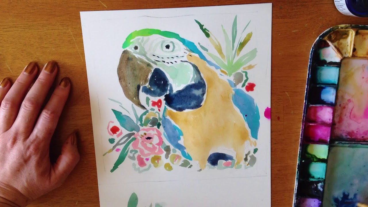 GOLDIE the Macaw | Time Lapse Watercolor