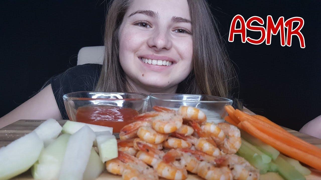ASMR Garlic Shrimp Eating Sounds - JojoEats