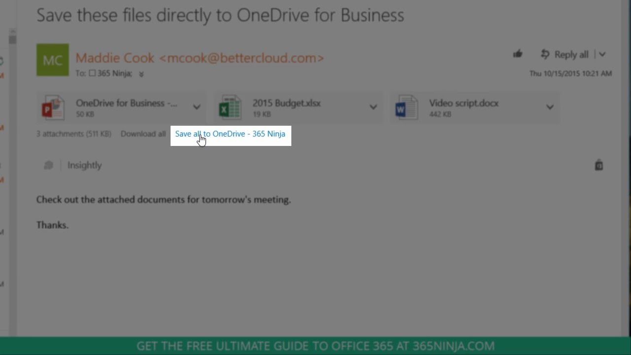 Save Files Directly to OneDrive for Business from Outlook