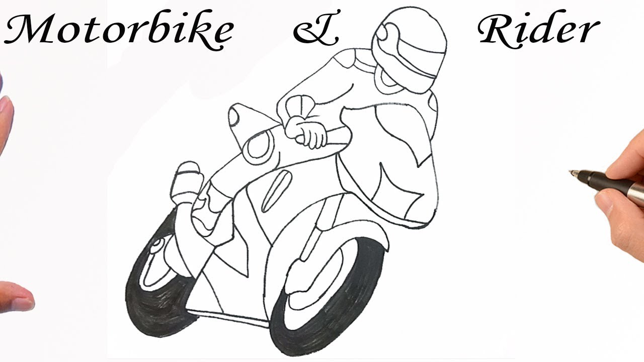How To Draw A Motorcycle Rider Step By Step Easy Drawing Tutorial Youtube