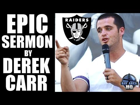 OAKLAND RAIDERS DEREK CARR REVEALS PAST & PREACHES! Full EPIC SERMON 6.25.17 Bakersfield Highlights