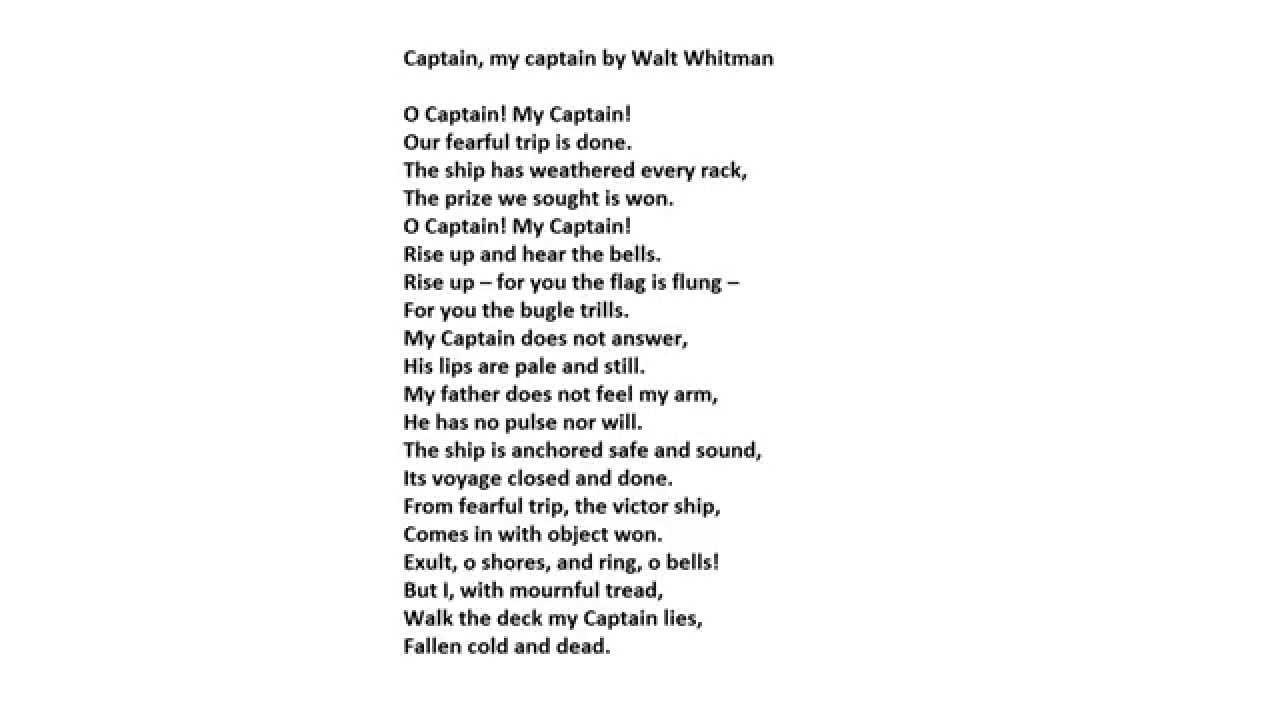 Oh Captain, my captain - Walt Whitman - YouTube