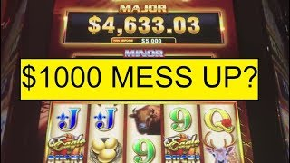 ACCIDENTALLY HIT SPIN! AFTER I DOUBLED TO $1000! DOES IT COST ME? EAGLE BUCKS HIGH LIMIT!