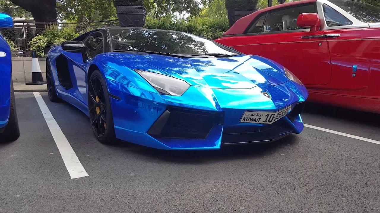 London Supercars Chrome Blue Lamborghini Aventador Sv Mercedes