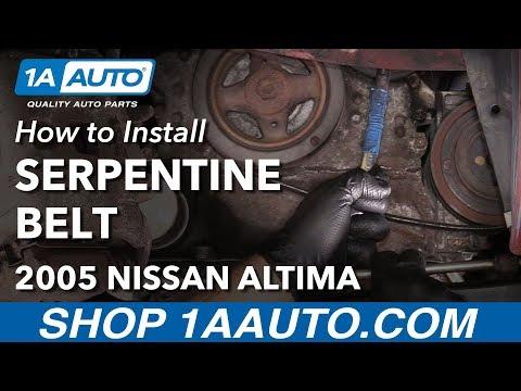 How to Replace Serpentine Drive Belt 02-06 Nissan Altima L4 2.5L