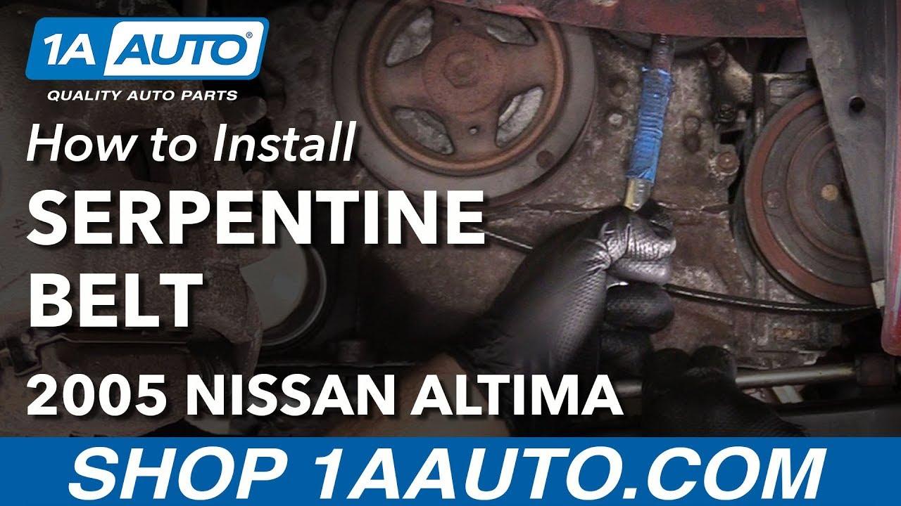 how to replace serpentine drive belt 02 06 nissan altima l4 2 5l 2002 nissan altima 2 5 belt routing diagram [ 1280 x 720 Pixel ]