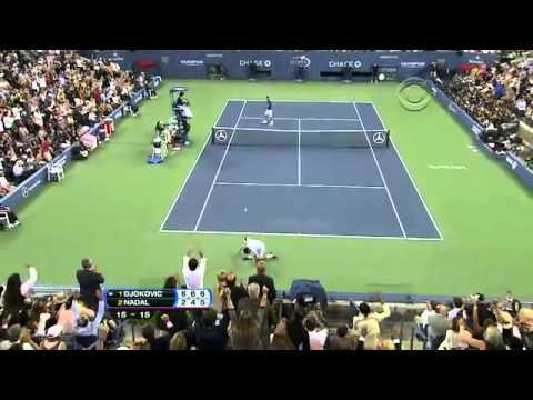 Nadal wins an amazing point vs. Djokovic (US Open 2011)