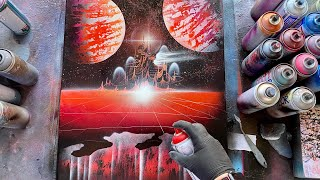 BLOOD SPACE SPRAY PAINT ART BY SKECH
