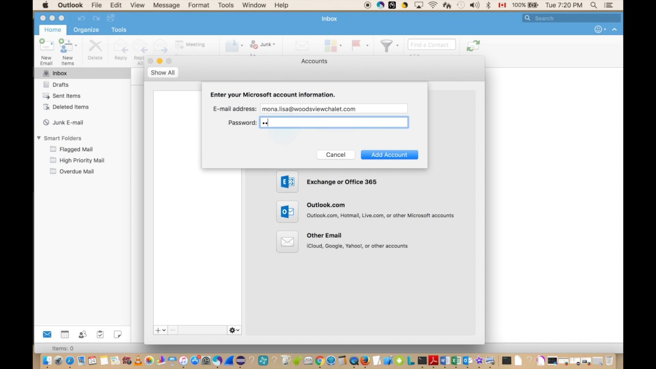 Work around to fix Outlook Exchange office 365 Authentication failed on Mac