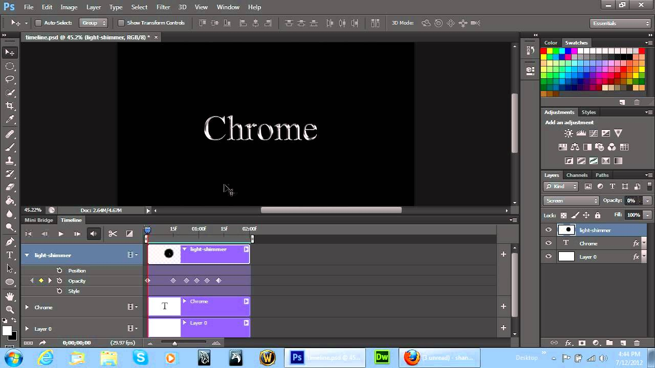 Adobe photoshop cs6 timeline animation project shimmering light its youtube uninterrupted baditri Choice Image