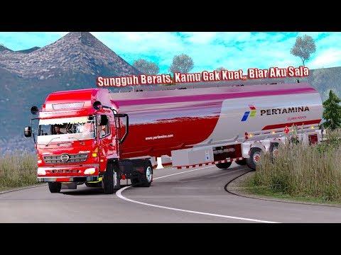 Truk Hino Angkut Trailer Pertamina Jalur Sumatra