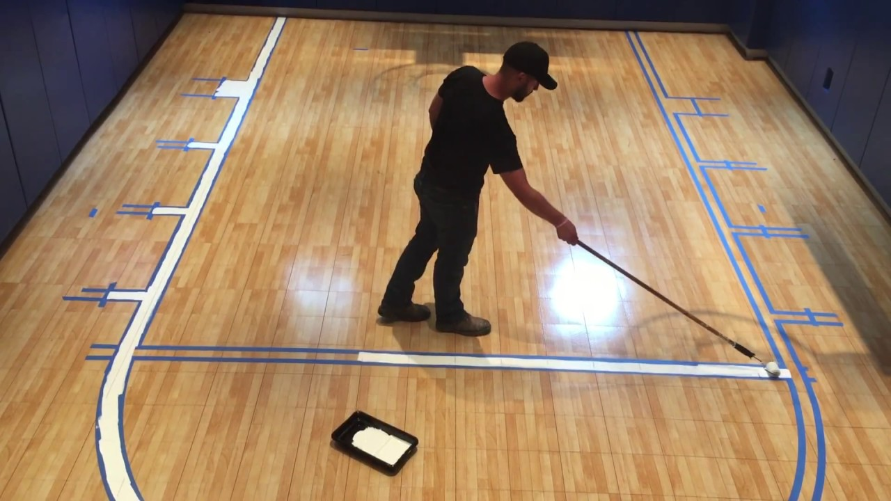 Indoor Sport Court Line Painting - YouTube