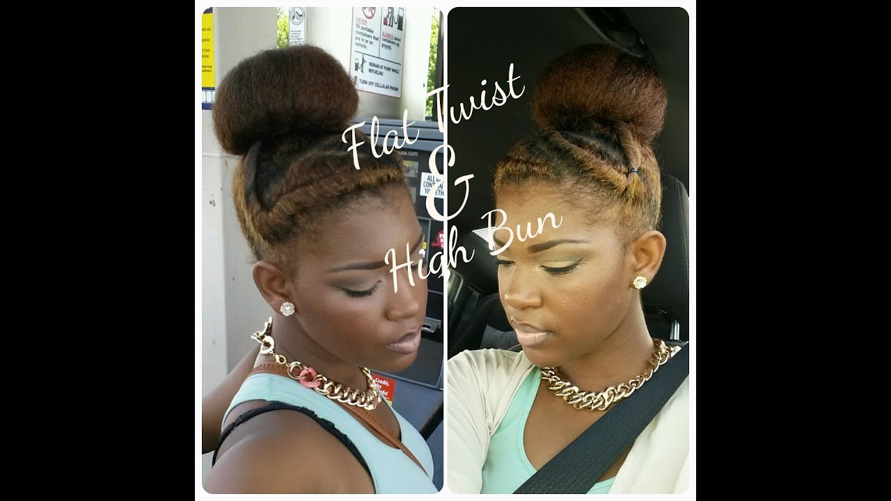 NATURAL HAIRSTYLE Flat Twist & Bun YouTube