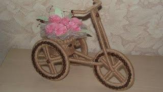 Кашпо велосипед из шпагата
