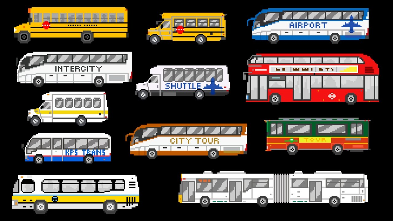 Buses - Street Vehicles - The Wheels on the Bus - The Kids' Picture Show (Fun & Educational