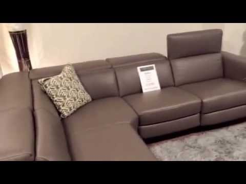 Natuzzi B790 Club corner sofa grey stone leather