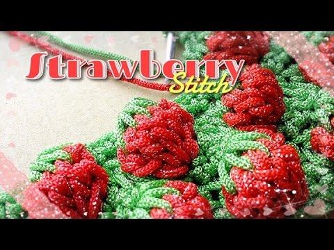 ลายถักโครเชต์สตรอเบอรี่ (Crochet strawberry stitch)