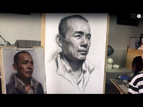Man's portrait drawing in graphite pencil