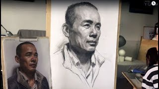 Man's portrait drawing in graphite pencil