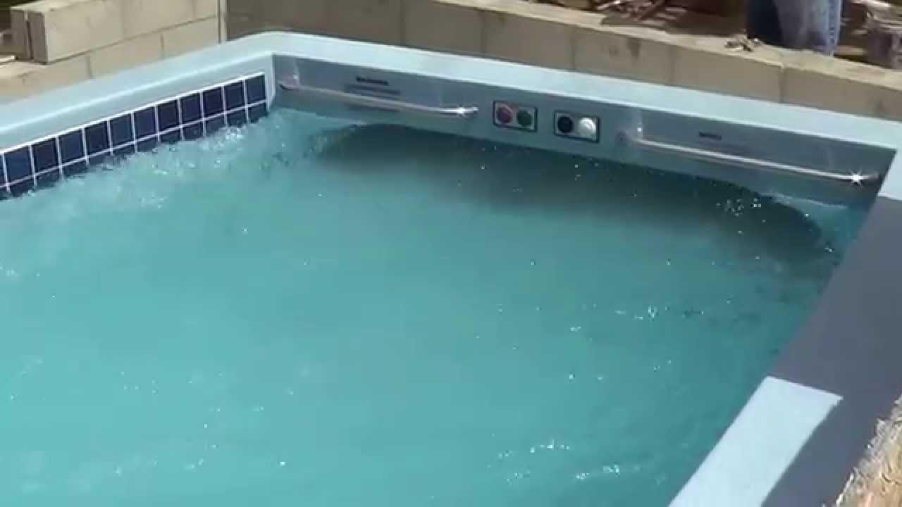 SwimEx pool in Coronado, CA - testing the flow