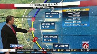 Hurricane Isaias 5 P.m. Advisory