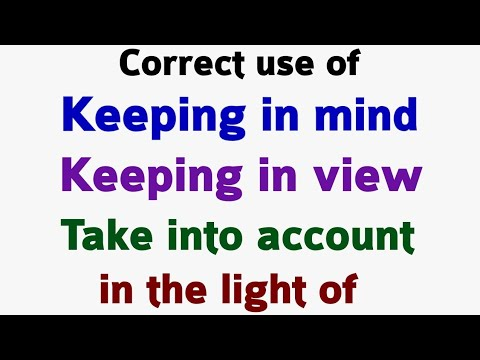 Use of in the light of   keeping in view   keeping in mind   Take into account   English part 68.