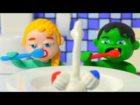 Superhero Babies Go To Bed ❤ Frozen Elsa & Hulk Play Doh Cartoons & Stop Motion Movies
