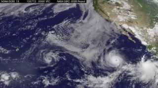 Weather Satellite Sees 3 Tropical Cyclones in Pacific | NASA GOES-15 Hurricane Storm Video