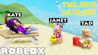 Babies go to the BEACH in Twilight Daycare!  Roblox Roleplay