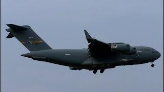 USAF C-17A Globemaster Landing at RAF Mildenhall