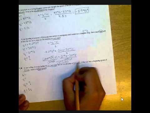 Acceleration Worksheet A Youtube