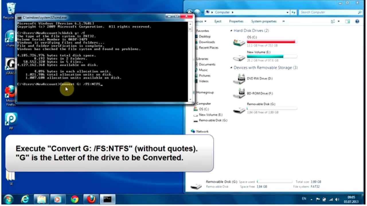 How To Convert Fat32 To Ntfs Without Losing Data Fix File Too Large Destinationfor Error Youtube