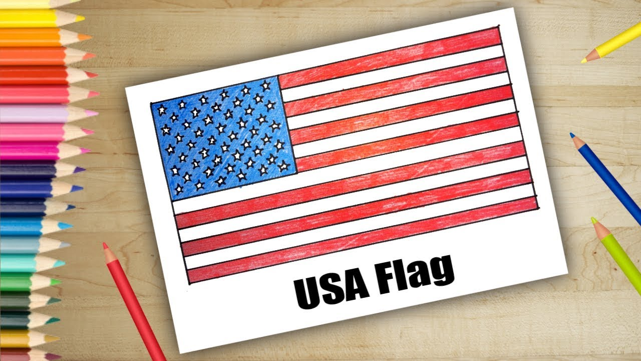 How To Draw Usa Flag Drawing Easy For Kids Youtube